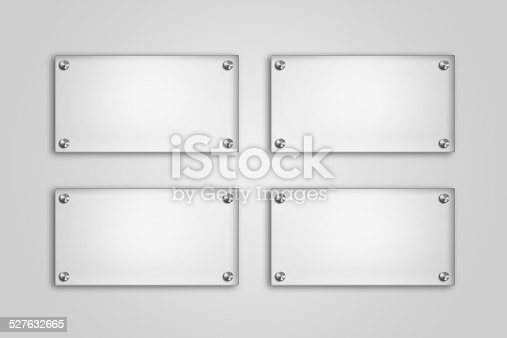 527567107istockphoto Blank glass plate on white background 527632665