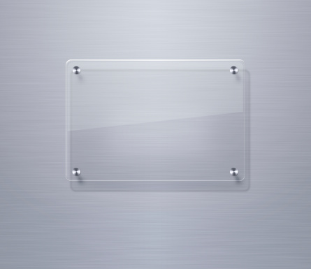 Blank glass plate over stainless steel background