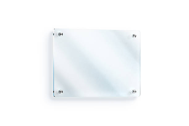 blank glass sign plate wall-mounted mockup, clipping path - vinyl banner mockup stock photos and pictures