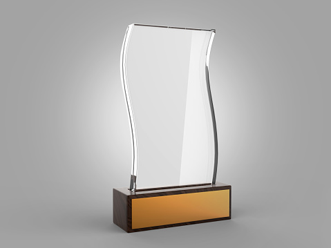 istock Blank glass trophy mock up stand on wooden base, 3d rendering illustration. 1125707605