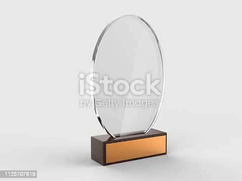 istock Blank glass trophy mock up stand on wooden base, 3d rendering illustration. 1125707619
