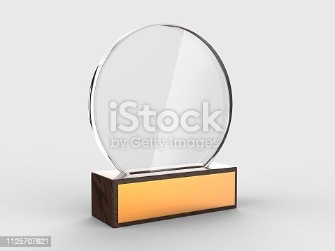 istock Blank glass trophy mock up stand on wooden base, 3d rendering illustration. 1125707621