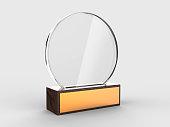 Blank glass trophy mock up stand on wooden base, 3d illustration.