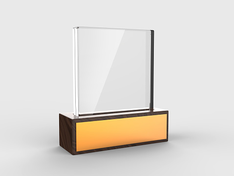istock Blank glass trophy mock up stand on wooden base, 3d rendering illustration. 1125707640