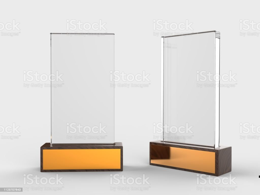 Blank Glass Trophy Mock Up Stand On Wooden Base 3d Rendering