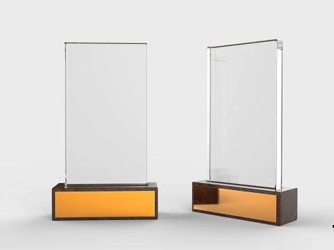 Blank glass trophy mock up stand on wooden base, 3d illustration.
