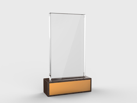 istock Blank glass trophy mock up stand on wooden base, 3d rendering illustration. 1125707686