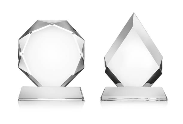 Blank glass trophy mockup isolated on white with clipping path Blank glass trophy mockup isolated on white with clipping path trophy award stock pictures, royalty-free photos & images