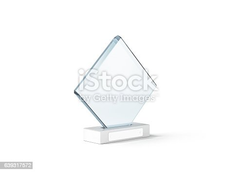 Blank glass trophy mockup stand on clear marble base, 3d rendering. Empty acrylic award design mock up. Transparent crystal prize plate template. First place prise plaque, isolated on white.