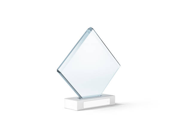 blank glass trophy mockup stand on clear marble base, - trophy award stock photos and pictures