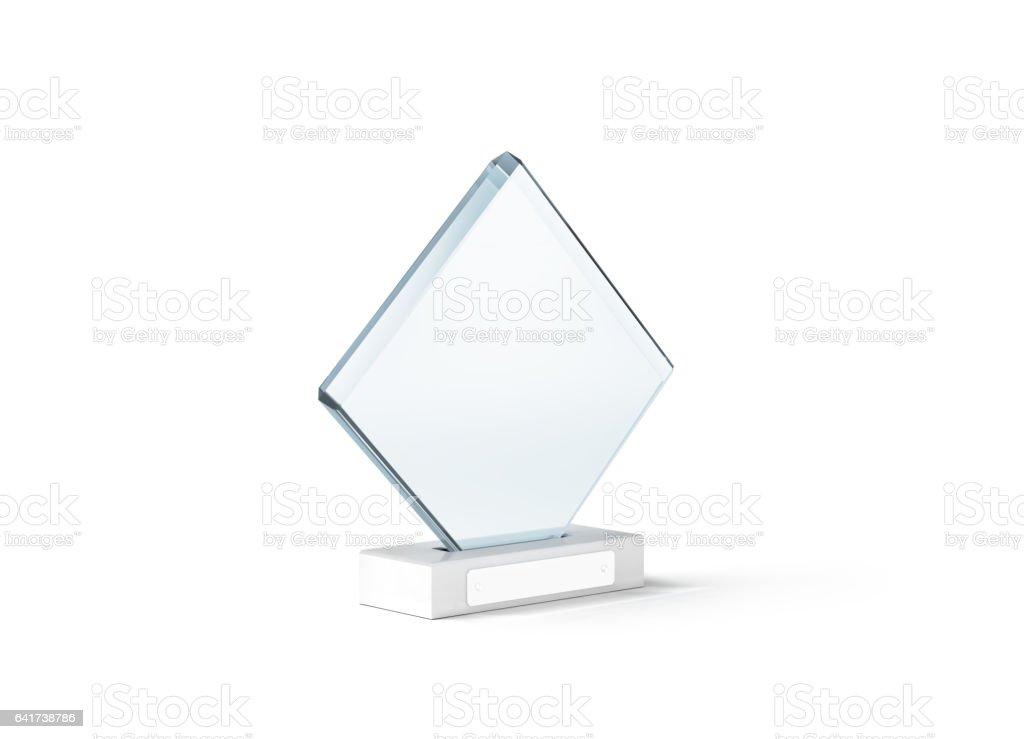 Blank glass trophy mockup stand on clear marble base stock photo