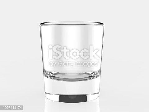 istock Blank Glass Tumbler for branding. 3d render illustration. 1097441174