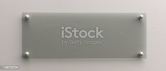 527567107istockphoto Blank glass wall sign mockup, 3d illustration. Office signage template 1165732234