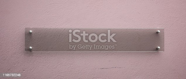 527567107istockphoto Blank glass wall sign mockup, 3d illustration. Office signage template 1165732246