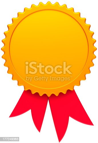 istock Blank gold award medal badge with red ribbon 177249383