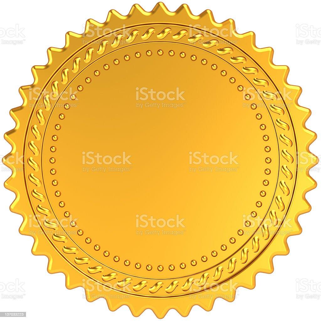 Blank gold award medal guarantee badge royalty-free stock photo