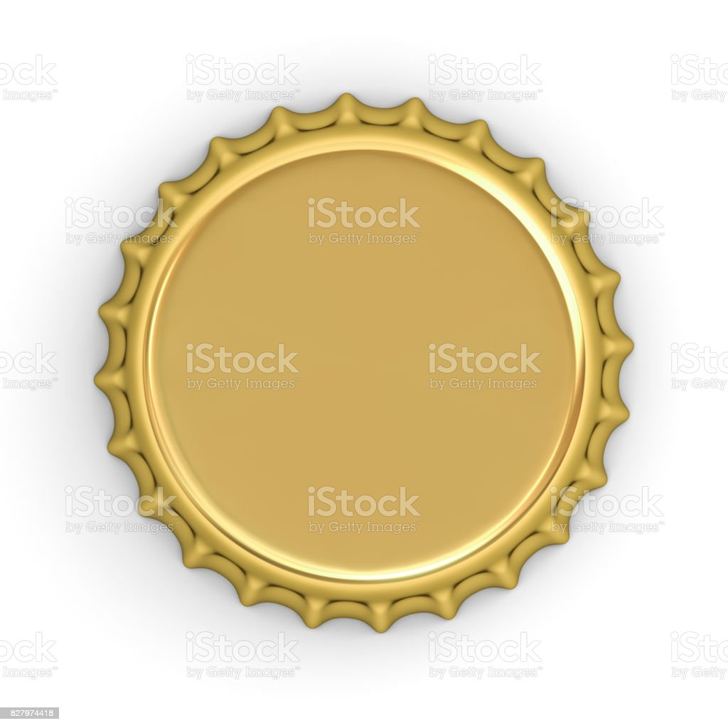 Blank gold bottle cap isolated on white background with shadow . 3D rendering stock photo