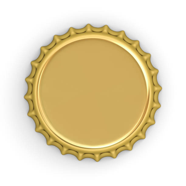 Blank gold bottle cap isolated on white background with shadow . 3D rendering Blank gold bottle cap isolated on white background with shadow . 3D rendering. bottle cap stock pictures, royalty-free photos & images