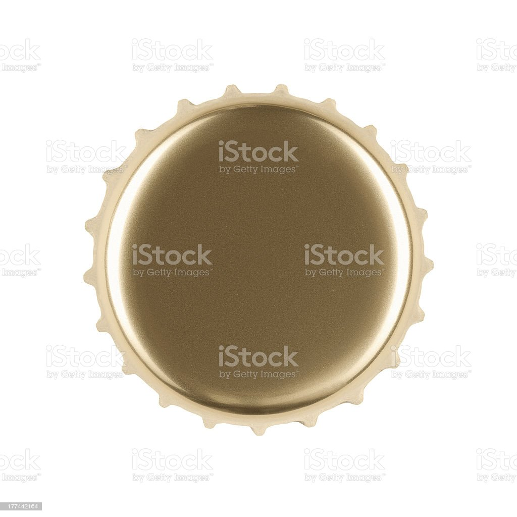 Blank gold bottle cap with copy space stock photo