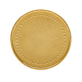Shiny gold coin/label. Linear gradients and blends used. No transparency, no clipping masks, no effects (like drop shadow, etc.).