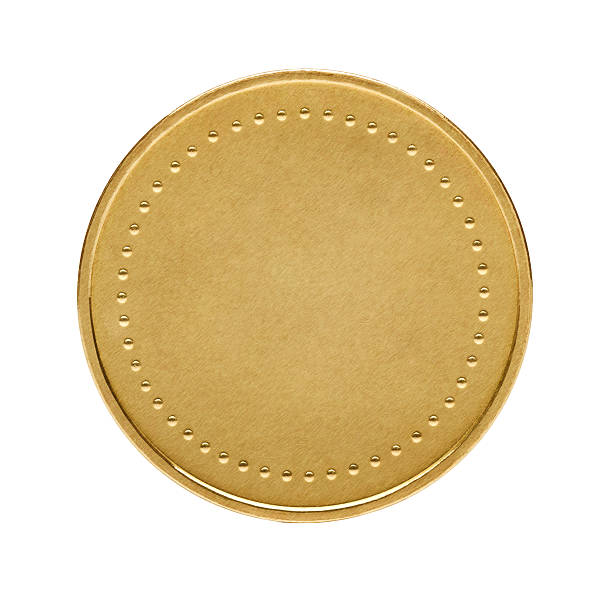 Blank gold coin Close up of golden coin isolated on white background insignia stock pictures, royalty-free photos & images