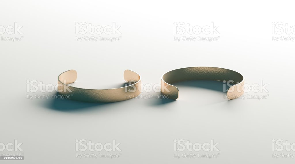 Blank gold cuff bracelet mock up, front and back side view stock photo