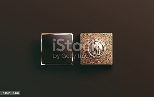 istock Blank gold enamel pin black mock up, front and back 819210000