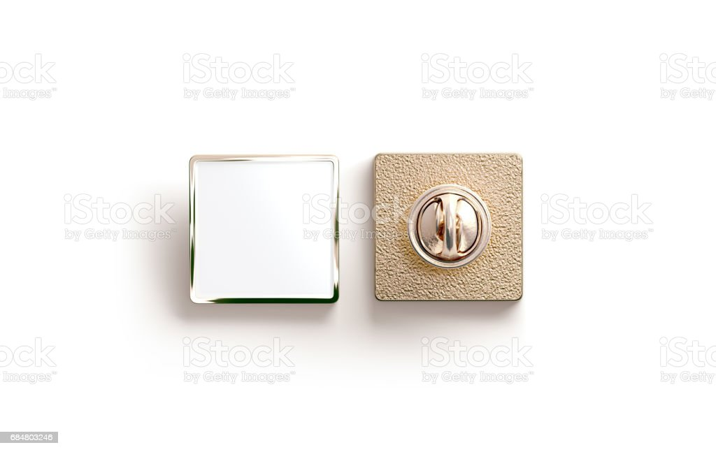 Blank gold enamel pin mock up, front and back side view stock photo