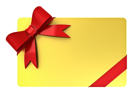 Blank golden gift card with red ribbons and bow isolated over white background