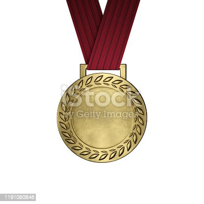 istock Blank gold medal isolated on white. 3d render 1191060848