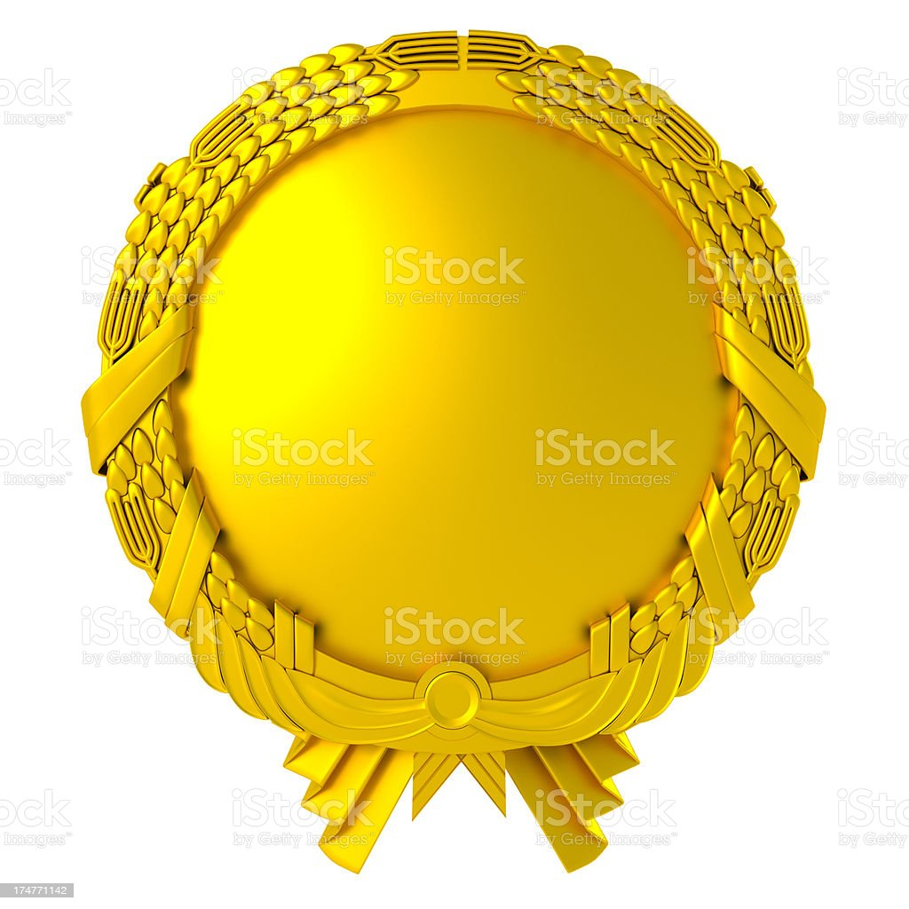 blank gold medal stock photo