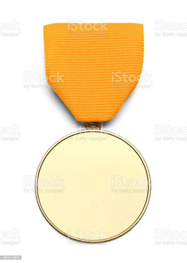 Blank Gold Ribbon Medal stock photo