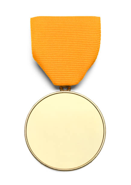 Blank Gold Ribbon Medal Gold Medal WIth Copy Space and Ribbon Isolated on White Background. medal stock pictures, royalty-free photos & images