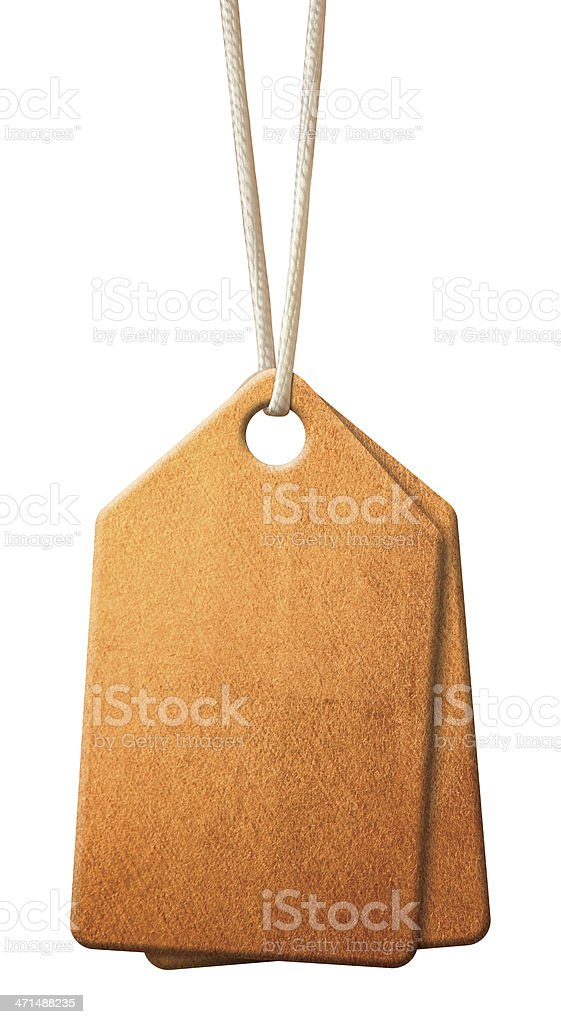 Blank gold tags stock photo