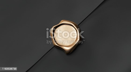 istock Blank gold wax stamp on paper envelope mockup, top view, 1163538735