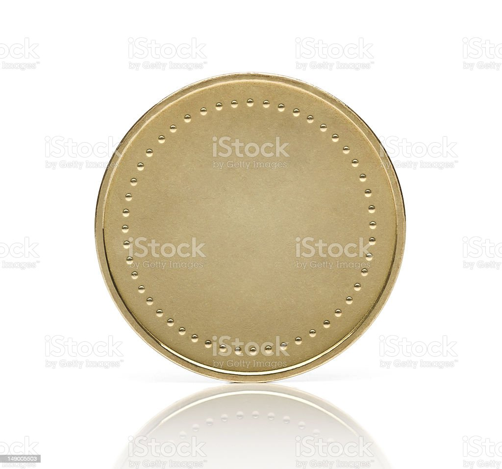 Blank golden coin stock photo