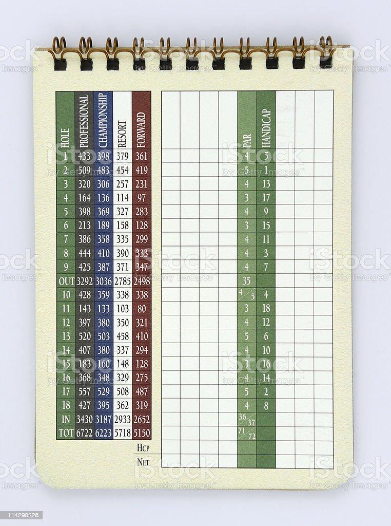 Blank Golf Score Card stock photo