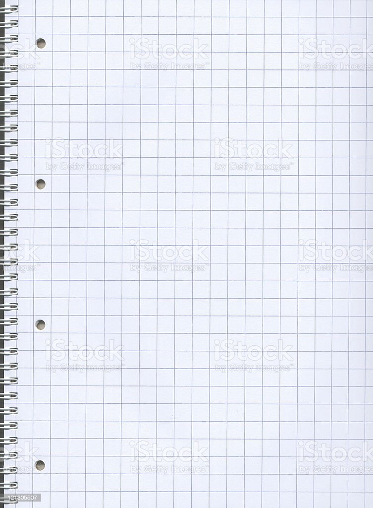 Blank graph paper of a notebook with spiral stock photo