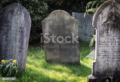 Eerie tombstone, old and forgotten. Text ready.