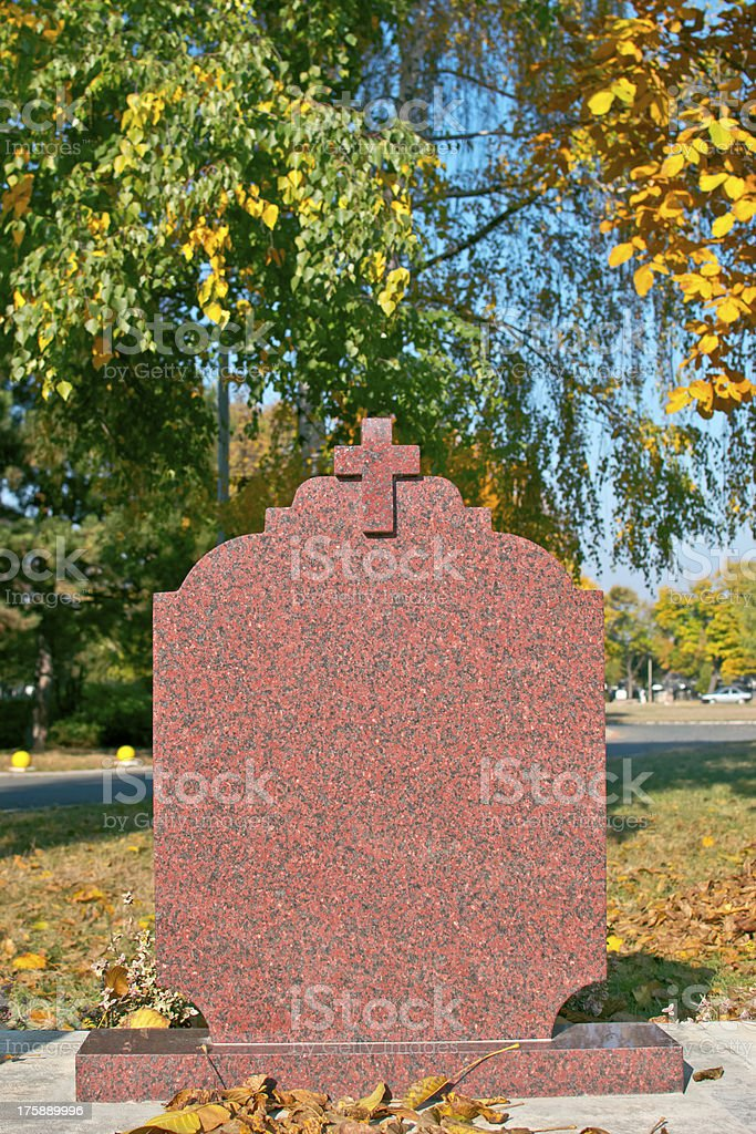 Blank gravestone ready for an inscription stock photo