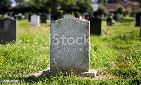 istock Blank gravestone with other graves in the background 1006480588