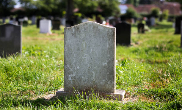 blank gravestone with other graves in the background - cemetery stock photos and pictures