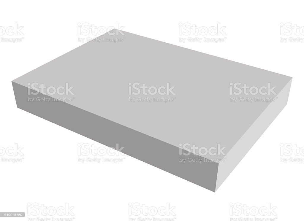 Blank gray box on white background with reflection stock photo