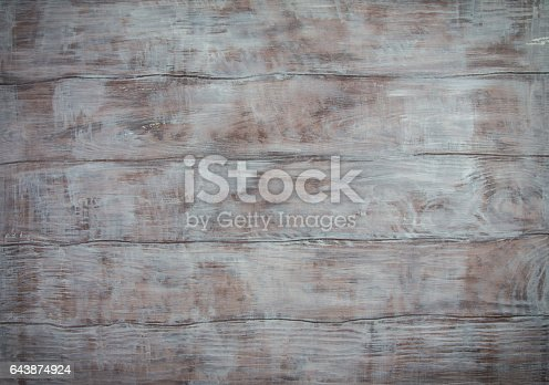 istock Blank gray rustic wooden background. Space for your text 643874924