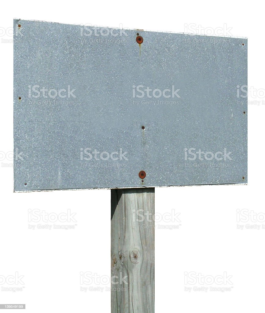 Blank Gray Sign - isolated royalty-free stock photo