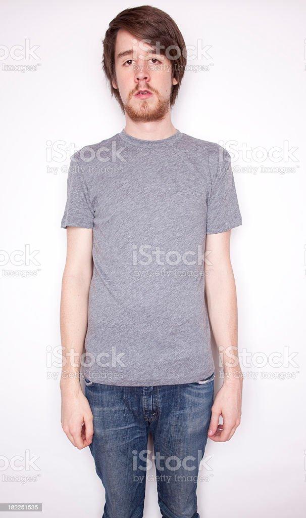 Blank Gray T-Shirt on Man stock photo