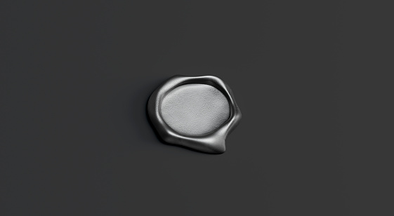 Blank gray wax stamp mock up, isolated on black background, depth of field, 3d rendering. Empty letter mark mockup, side view. Clear mail signature for emboss template.
