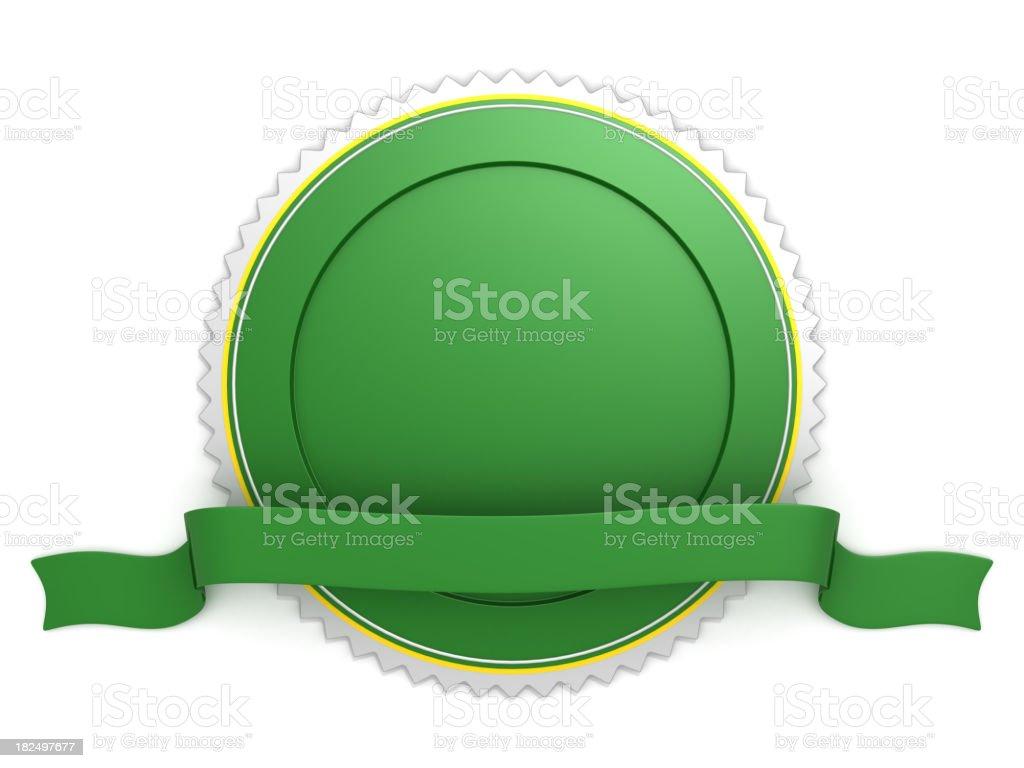 Blank green badge with ribbon royalty-free stock photo