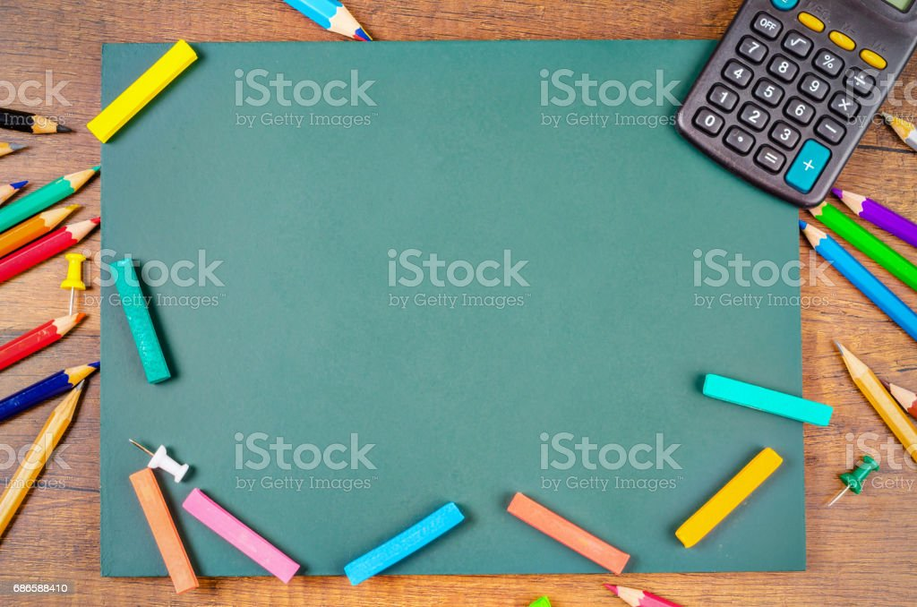 Blank Green board with stationery royalty-free stock photo