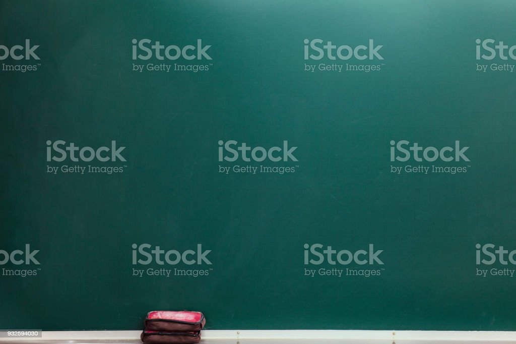 Blank green chalkboard, blackboard texture with copy space stock photo